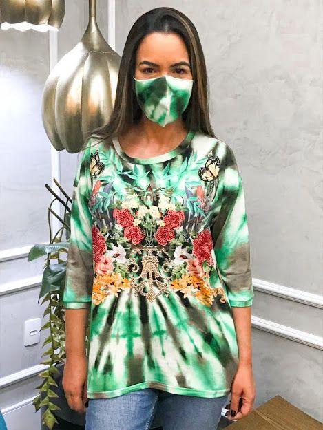 Anemess - Blusa ampla TieDye Flores  / acompanha máscara /  TAMANHO ÚNICO - VESTE DO P AO GG  Ref: 91040