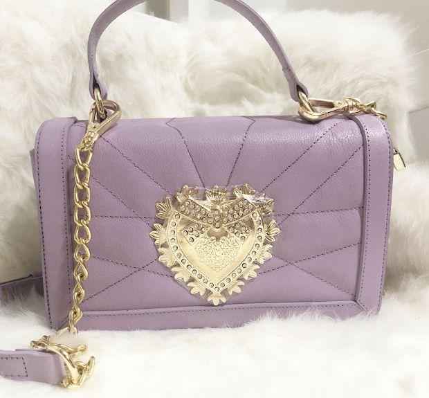 Bolsa de Couro legítimo  / cor:Lavanda /   inspiration  Dolce & Gabbana - 100% couro / Feita no Brasil