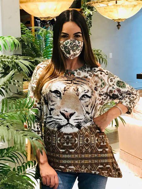 Anemess - Blusa ampla tigre / marrom / acompanha máscara /  TAMANHO ÚNICO - VESTE DO P AO GG  Ref