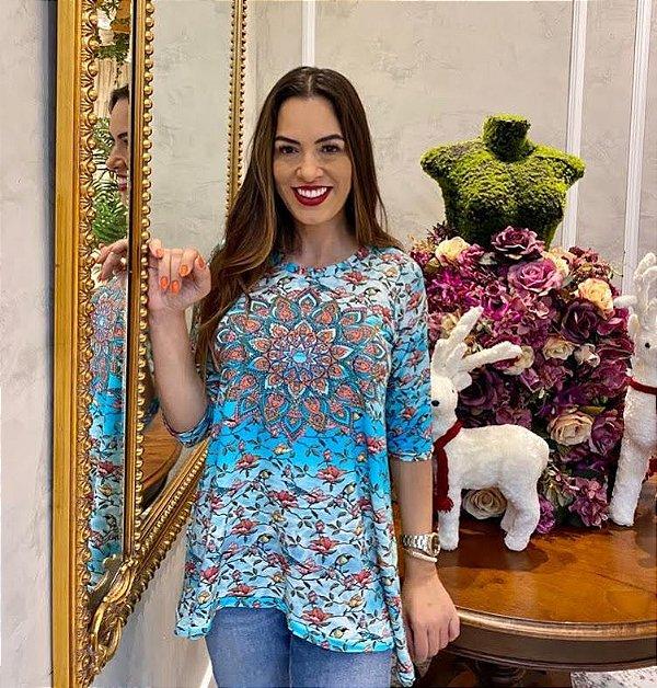 Anemess - Blusa ampla Flores e Pássaros com Mandala   / acompanha máscara /  TAMANHO ÚNICO - VESTE DO P AO GG  Ref:91102