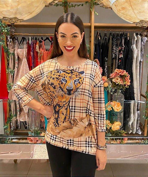 Anemess - Blusa ampla Chanel tigre  - TAMANHO ÚNICO - VESTE DO P AO GG  Ref: