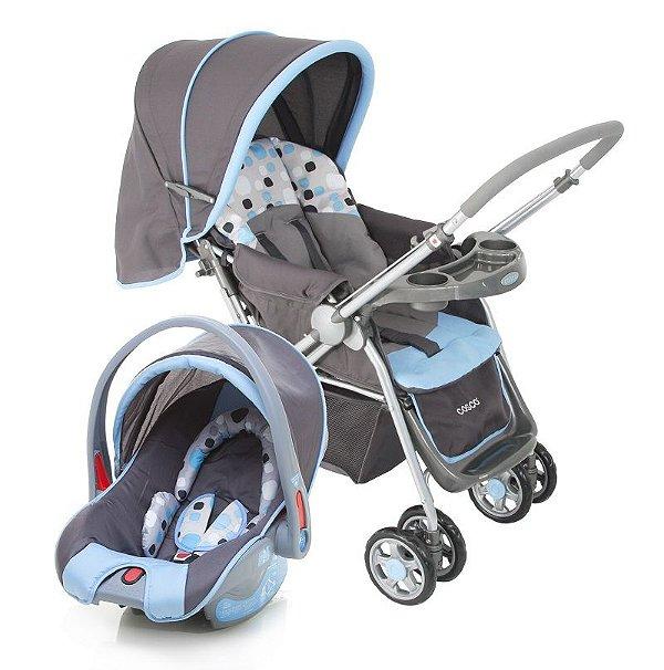 Carrinho de Bebe com Bebe Conforto Travel System Reverse Cosco Azul