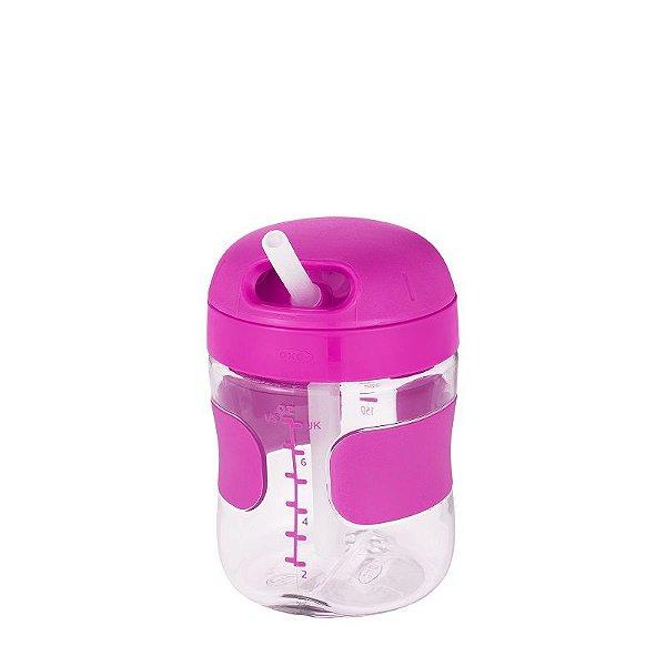 Copo com Canudo de Silicone Oxotot 210ml Rosa