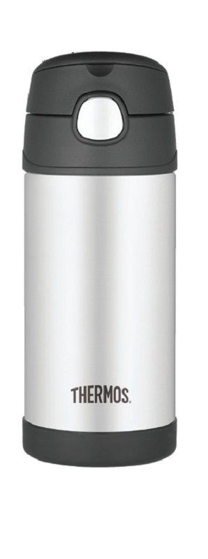 Garrafinha térmica Funtainer Preta e Inox Thermos Foogo 335 ml