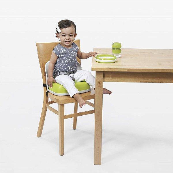 Assento Infantil para elevação com Encosto e Cinto Oxotot Branca e Verde