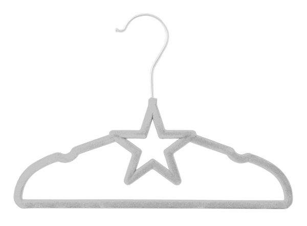 Cabide de Veludo Infantil Modelo Estrela Cinza 3 Unidades