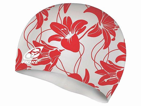 Touca De Silicone Para Natação Fiore Hibiscus Red