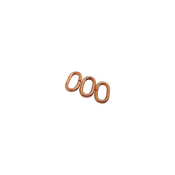 01-0759 - Pacote com 1/2 Kg de Argola em Cobre Oval Achatada 7mmx4mm