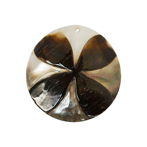 12-0096 - Pacote com 10 Madrepérolas Furta-cor com Flor em Relevo 60mm