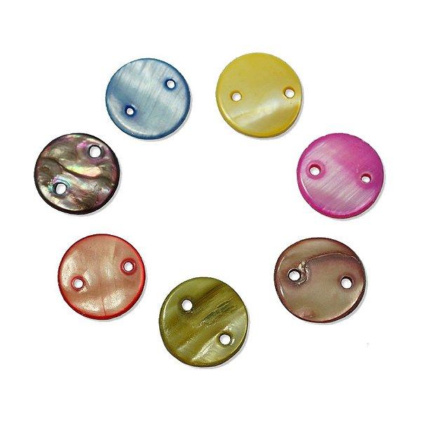 12-0055 - Pacote com 1000 Madrepérolas Coloridas Redondas com 2 Furos 13mm