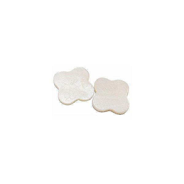 12-0237 - Pacote com 100 Madrepérolas Marfim Chaton Flor 13mm