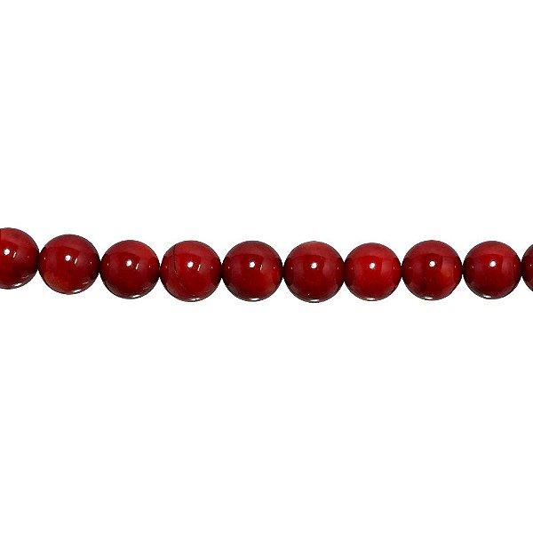 12-0202 - Fio de Madrepérola Vermelha Bola com Furo 10mm