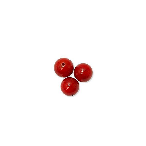 12-0201 - Pacote com 100 Madrepérolas Vermelhas Bolas com Meio Furo 8mm