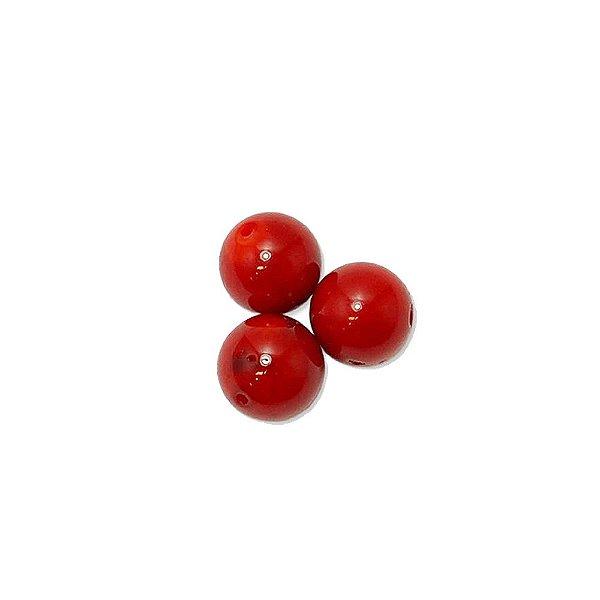 12-0200 - Pacote com 100 Madrepérolas Vermelhas Bolas com Meio Furo 10mm