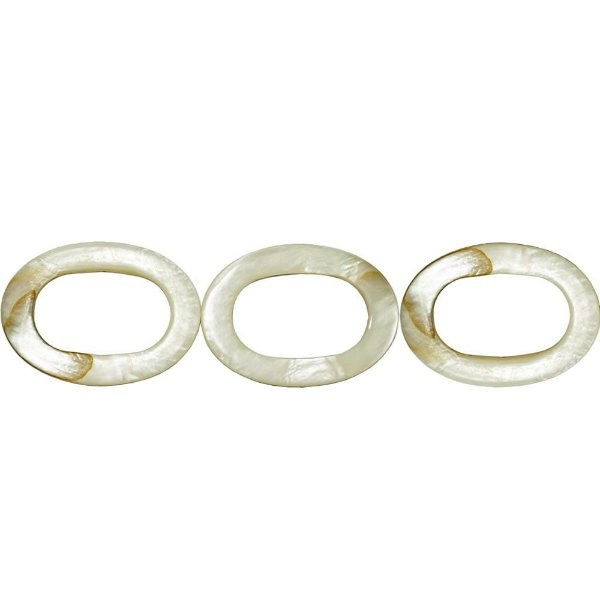 12-0184 - Fio de Madrepérola Marfim Argola Oval 25mmx35mm
