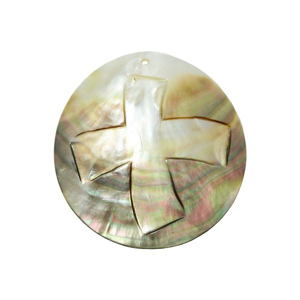 12-0095 - Pacote com 10 Madrepérolas Furta-cor com Cruz Entalhada 60mm