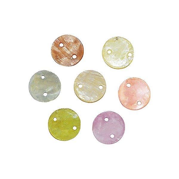 12-0071 - Pacote com 1000 Madrepérolas Coloridas com 2 Furos 13mm