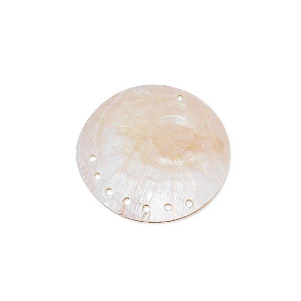 12-0064 - Pacote com 10 Madrepérolas Marfim Redondas com 8 furos 48mm