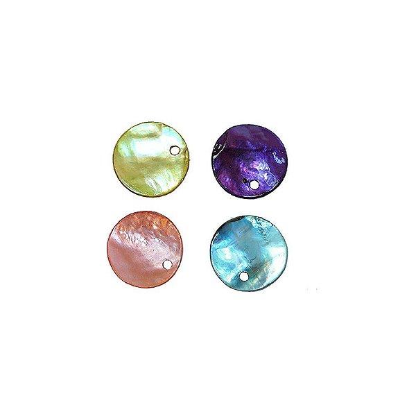 12-0041 - Pacote com 1000 Madrepérolas Coloridas Redondas com Furo 11mm