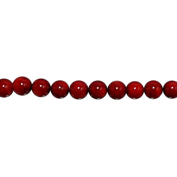 12-0203 - Fio de Madrepérolas Vermelhas Bola com Furo 8mm