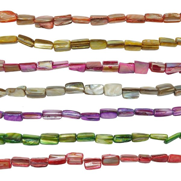 12-0027 - Fio de Madrepérolas Coloridas Quadradas 8mmx15mm