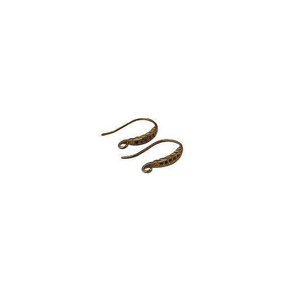 01-0571 - Pacote com 100 Ganchos em Latão para Brinco com Detalhe 13mmx20mm