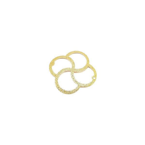 01-1648 - 1/2Kg de Estamparia Diamantada Flor 4 Pétalas para Bijuteria 25mm