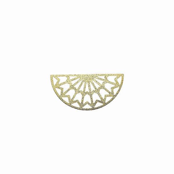 01-2094 - 1/2Kg de Estamparia Diamantada Semicírculo Tribal Média 35mmx17mm