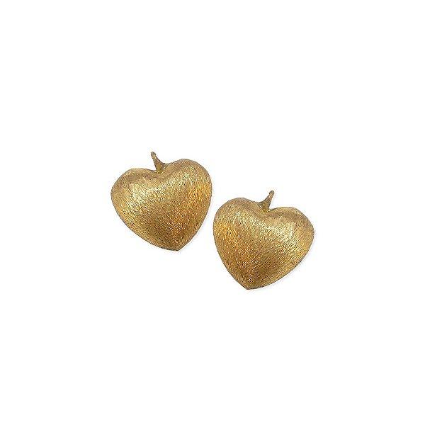 01-0810 - Pacote com 100 Pingentes em Latão Coração com Textura 18mm