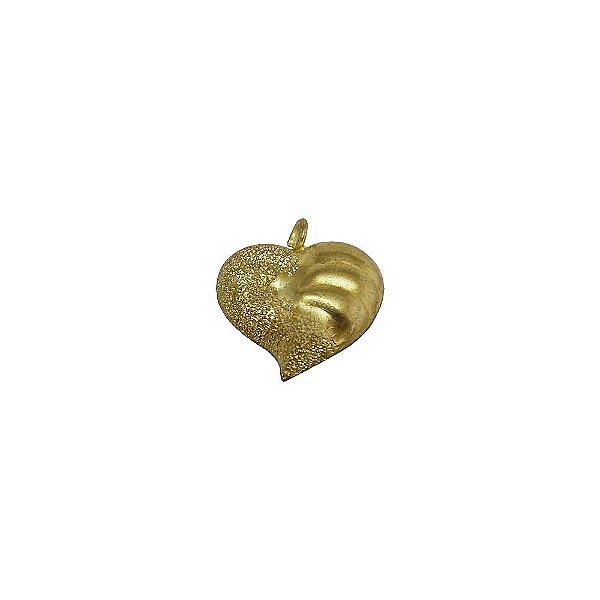 01-1073 - Pacote com 100 Pingentes em Latão Coração com Detalhes 20mm