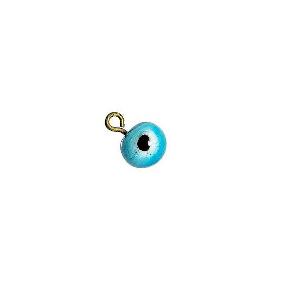 11-0137 - Pacote com 100 Pingentes de Vidro Olho Grego Turquesa 8mm