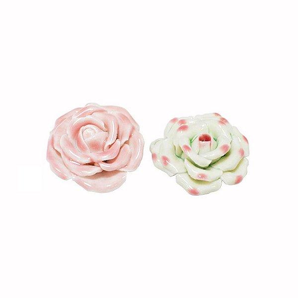 11-0133 - Pacote com 10 Rosas em Porcelana Colorida 40mm