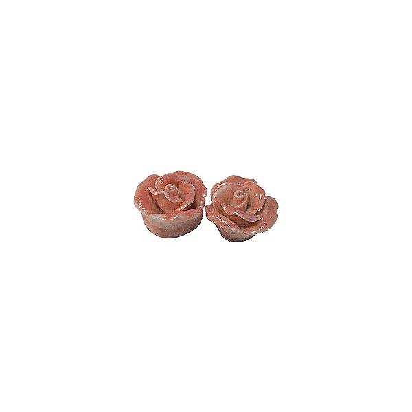 11-0131 - Pacote com 10 Flores em Porcelana Rosa 10mm