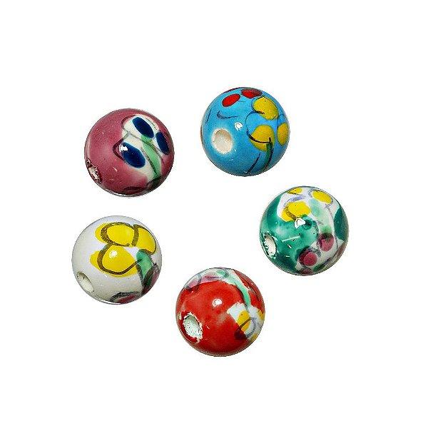 11-0120 - Pacote com 100 Bolas em Porcelana Estampadas 12mm
