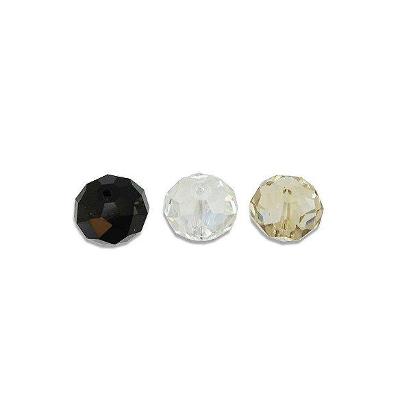 11-0102 - Caixa de Discos de Vidro Facetados Coloridos 12mmx16mm