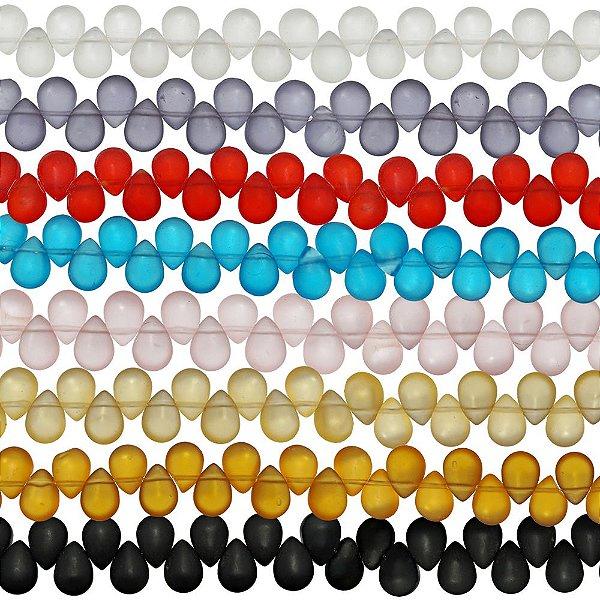 11-0063 - Fio de Gotas de Vidro Fosco Colorido 11mmx08mm