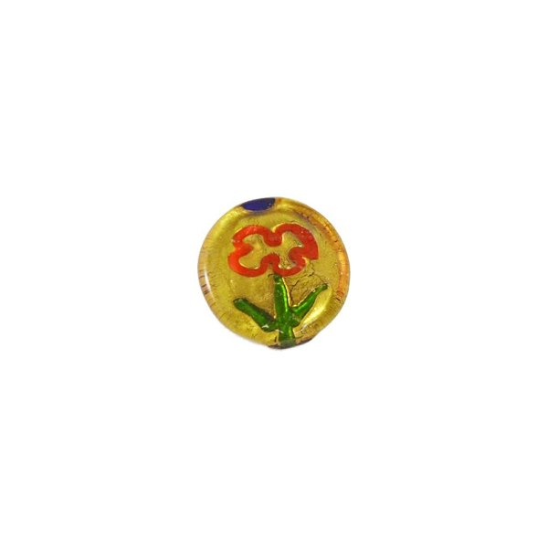 11-0043 - Pacote com 10 Pingentes de Vidro com Flor Colorida 20mm