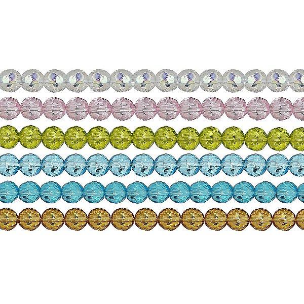 11-0016 - Fio de Bolas de Vidro Facetadas Coloridas 6mm
