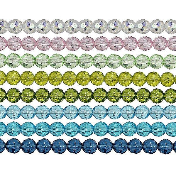11-0015 - Fio de Bolas de Vidro Facetadas Coloridas 8mm