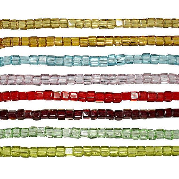11-0014 - Fio de Contas Quadradas de Vidro Coloridos 4mm