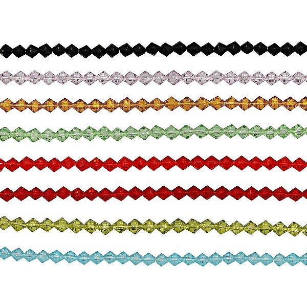11-0002 - Fio de Balões de Vidro Colorido com Passante 4mm