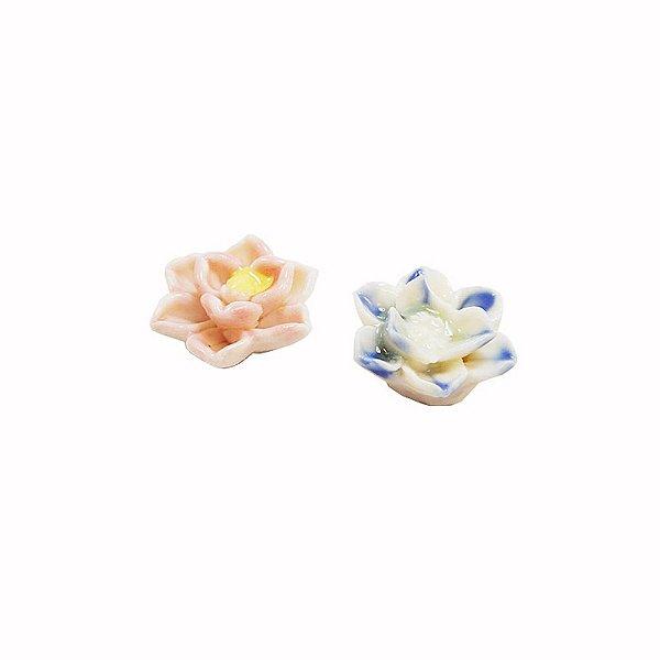 11-0132 - Pacote com 10 Flores em Cerâmica Colorida 18mmx7mm