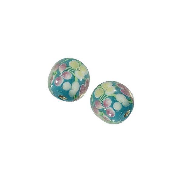 11-0047 - Pacote com 10 Bolas de Vidro com Estampa Floral 14mm