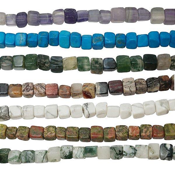 10-0003 - Fio de Pedras Coloridas Cubo com Passante 5mmx5mm