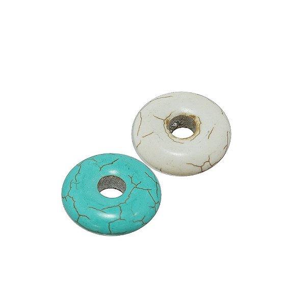 10-0008 - Pacote com 100 Pedras Turquesa/Marfim Disco Vazado 25mm