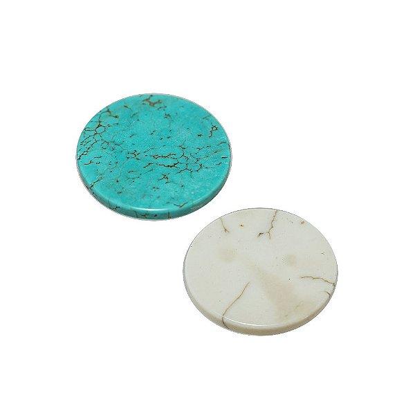 10-0019 - Pacote com 10 Pedras Turquesa/Marfim Chaton Redondo 30mm