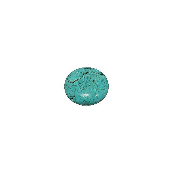 10-0022 - Pacote de 1 Kg de Pedra Turquesa Redonda com Meio Passante 18mm