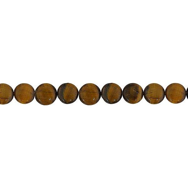 10-0030 - Fio de Pedras Olho de Tigre Redondas com Passante 12mm