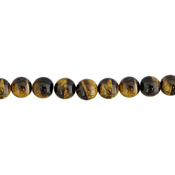 10-0035 - Fio de Pedras Olho de Tigre Bolas com Passante 12mm