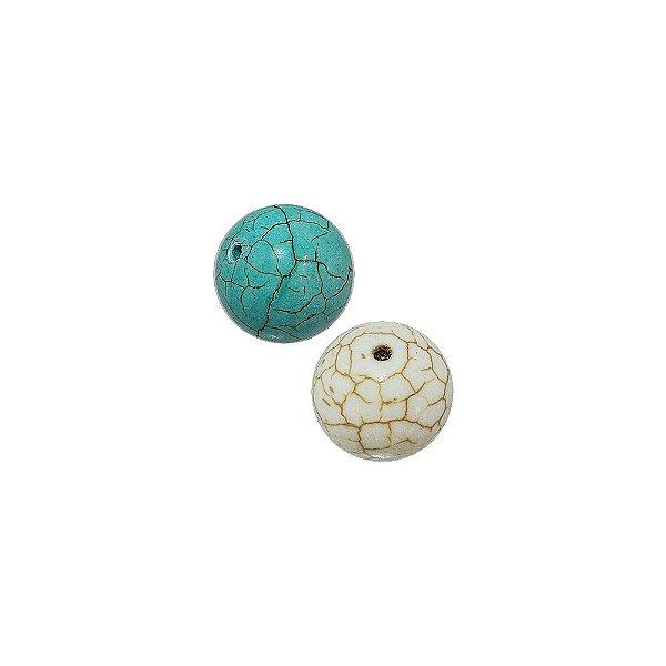 10-0043 - Pacote com 1 Kg de Pedra Turquesa/Marfim Bola com Passante 14mm